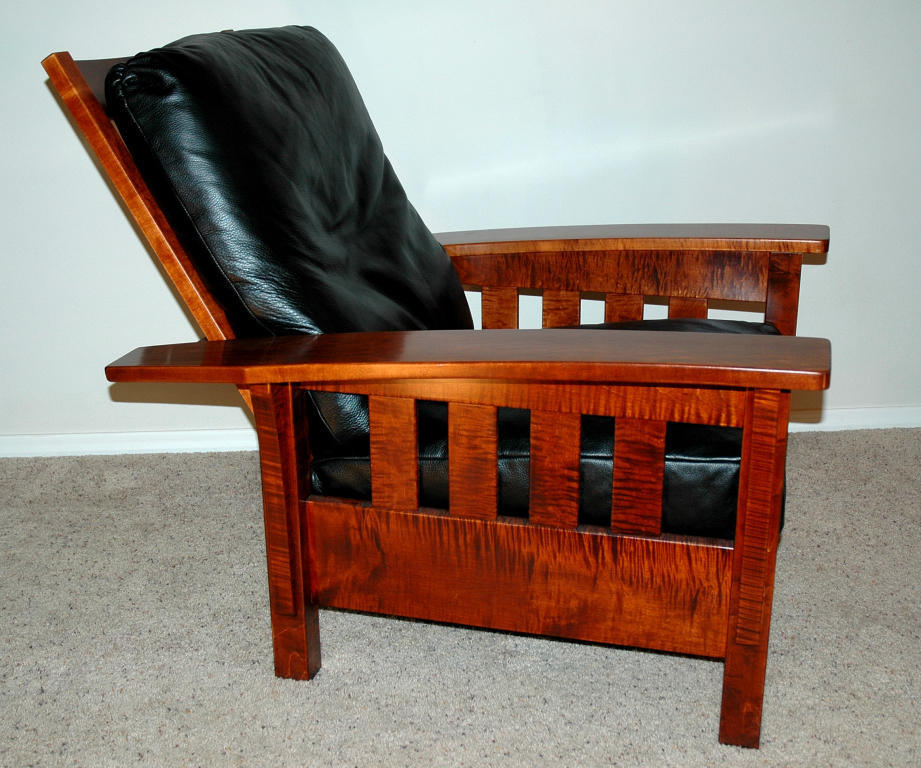Portfolio Morris Chair Curly Maple Leather