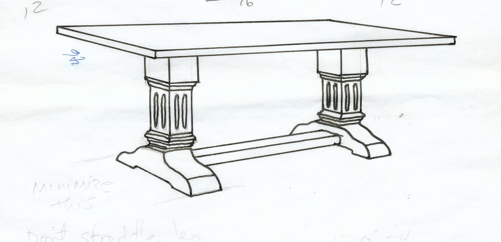 Drawing of dinner table for Table design sketch